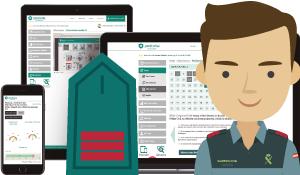 Imagen con todos los dispositivos: ordenador, tablet y móvil donde aparece un avatar masculino con la insignia de oficial